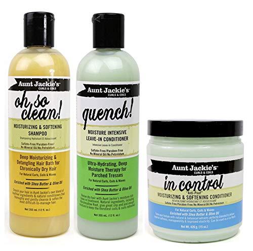 Aunt Jackies Curls & Coils - Lot de 3 soins capillaires - shampoing Oh So Clean 355 ml/après-shampoing sans rinçage hydratant Quench 355 ml/après-shampoing hydratant adoucissant In Control 426 g