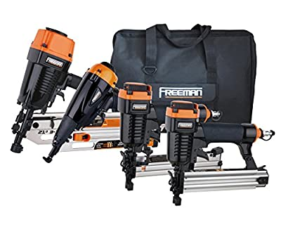 Freeman P4FRFNCB Pneumatic Framing & Finishing Combo Kit with Canvas Bag (4Piece) Nail Gun Set with Framing Nailer, Finish Nailer, Brad Nailer, & Narrow Crown Stapler from PGP