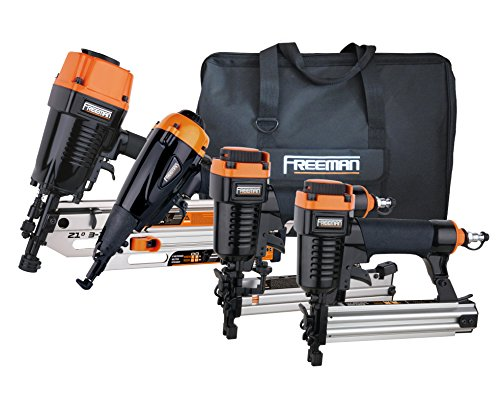 Freeman P4FRFNCB Pneumatic Framing & Finishing Combo Kit with Canvas Bag (4Piece) Nail Gun Set with Framing Nailer, Finish Nailer, Brad Nailer, & Narrow Crown Stapler. Buy it now for 229.00