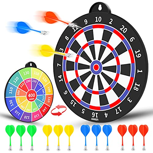 Magnetic Dart Board, Safe Dart Game for Kids, 12pcs Magnetic Darts, Fun Indoor-Outdoor Game, and Party Games, Double-Sided Dartboard Toys Gifts for 4 5 6 7 8 9 10 -12 Years Old Boys Girls and Adults