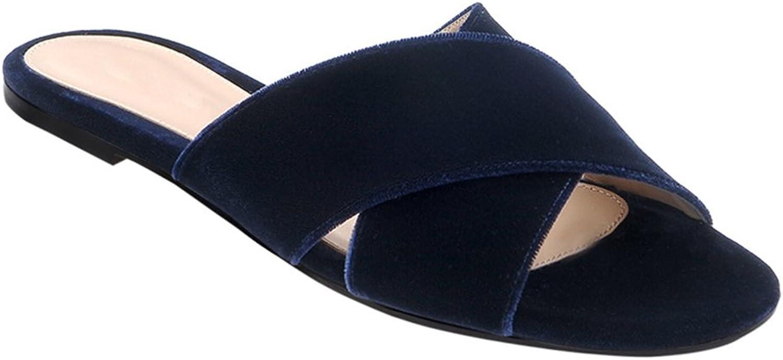 Women's Cross Belt Beach shoes Casual Vacation Sandals Flat shoes Lightweight Slipper One-Shaped shoes