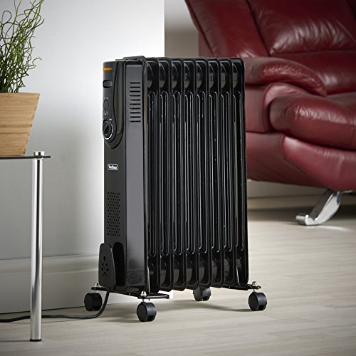 VonHaus Oil Filled Radiator – 2000W/2KW – 9 Fin – Freestanding – Plug in Portable Electric Heater – 3 Power Settings, Adjustable Temperature/Thermostat, Thermal Safety Cut off – Black