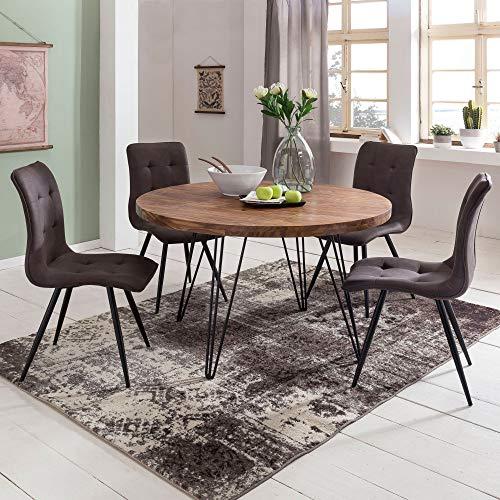 FineBuy Design Esszimmertisch BATI rund Ø 120 x 78 cm Sheesham Massiv-Holz | Landhaus Esstisch braun | Tisch für Esszimmer Küchentisch 4 Personen