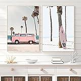 Rosa Pastel Retro Hippie Van Impresión de lienzo Palmera Surf Playa tropical Pintura de paisaje Cuadros de pared Sala de estar Decoración para el hogar Sin marco-40X50cmX2