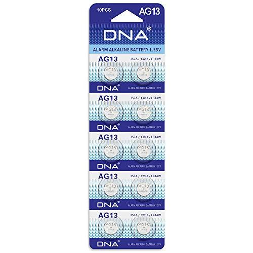 DNA AG13 Alkaline-Knopfzellen, Alternativbezeichnungen A76 / L1154 / SR44 / G13 / 357 / PX76A / V13GA, 10Stück
