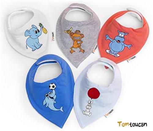 Tomtoucan Bavaglino neonato – Confezione da 5 (Animal Kingdom)