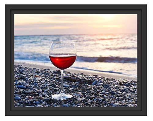 Picati Weinglas am Strand im Schattenfugen Bilderrahmen/Format: 38x30 im Schattenfugen-Bilderrahmen/Kunstdruck auf hochwertigem Galeriekarton/hochwertige Leinwandbild Alternative