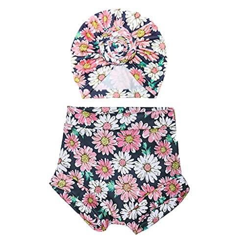 COMEYER 2 unids bebé verano impresión pantalones cortos turbante sombrero conjunto pantalones cortos cabeza abrigo nudo casquillo,
