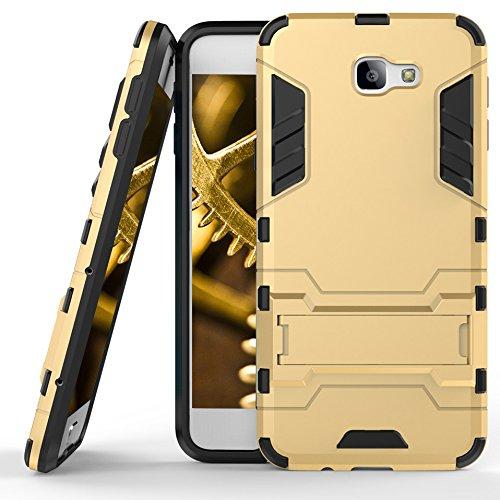 MYCASE Schutz Hülle Hülle für Samsung Galaxy J5 Prime / On5   Gold   Hard Cover mit Kickstand   Plastik Silikon Kunststoff TPU Schale Bumper Tasche Schutzhülle Handy Hülle