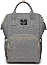 Diaper Bag,Large Capacity Diaper Bag Backpack,Multi-Function Travel Backpack Maternity Nappy Bag, Nurse bag, Mummy Bag,Waterproof for Baby Care,and Durable Grey.