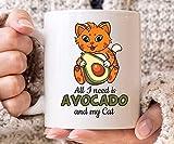 N\A Todo lo Que Necesito es Aguacate y Taza del Gato Mi, Aguacate Gato Taza de café para los Veganos, Idea Linda del Regalo para cetogénica Guacamole Aguacate Amantes de los Gatos