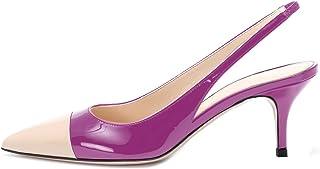 "elashe Scarpe da Donna - Pointed Toe Slingback Sandali - 2.6"" Tacco Gattino con Cinturino Caviglia Fibbia"