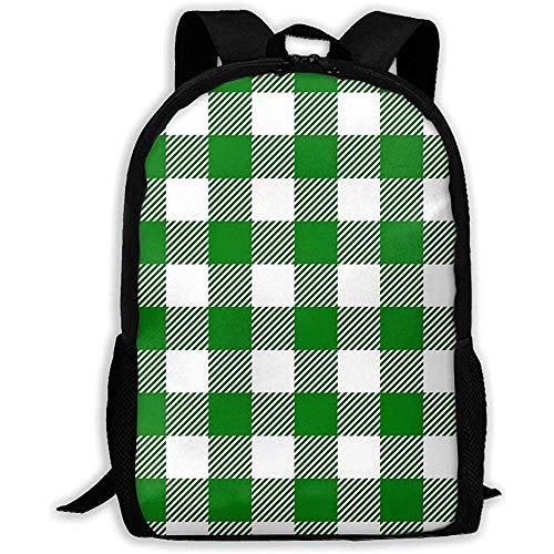 Green Plaid Adult Backpack Leichter Reiserucksack Unisex-Schultertasche