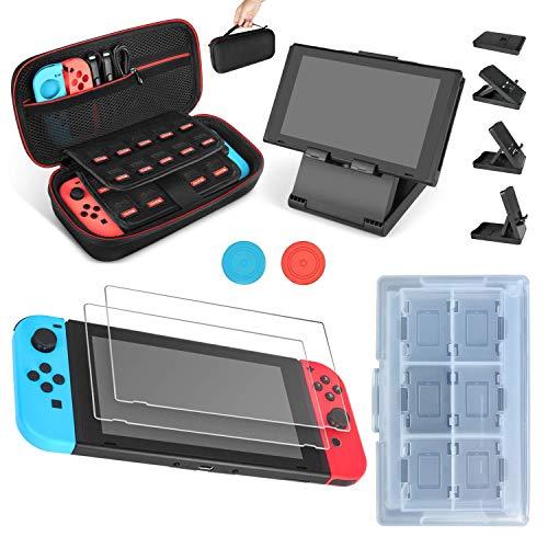 Juego de Funda y Accesorios para Nintendo Switch 7 en 1, Protector de Pantalla, Tapas de Agarre para el Pulgar, Soporte Ajustable, Funda para Tarjetas de Juego
