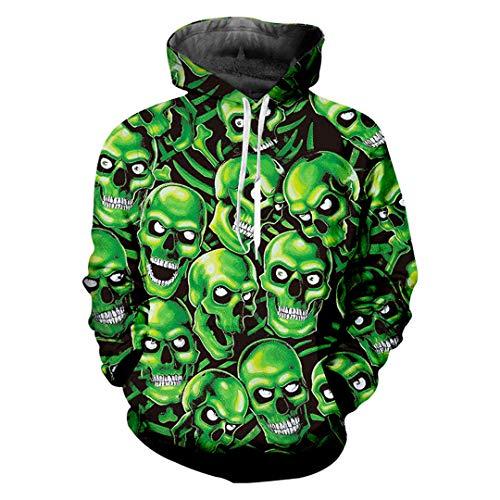 Pullover Man Hip Hop Green Skulls Hoodies 3D Impreso Punk Rock Ropa de Estilo Chino Green Skulls L