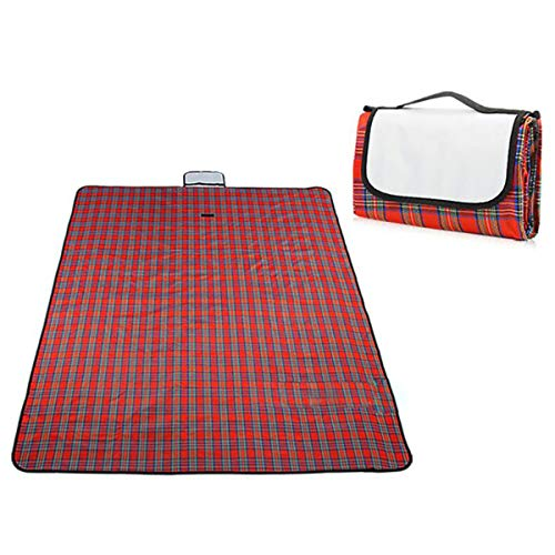 HIUHIU Tapis de Plage Tapis de Pique-Nique Ultra léger Couverture Voyage Portable Tapis de Couchage épaissi Sac à Dos imperméable et résistant à l'humidité,Rouge,150 x 150 cm
