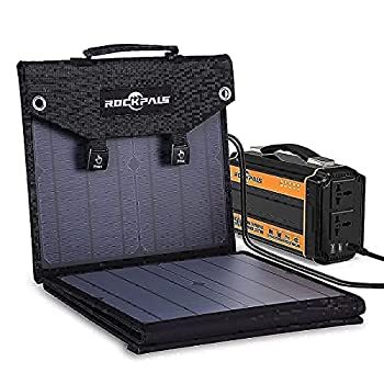 ROCKPALS 250W Portable Power Station and ROCKPALS 60W Solar Panel Great Solar Generator for Backup Power Outdoor Adventure and Camping