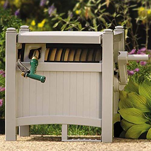 Suncast 100' Slide Trak Resin Garden Hose Reel Hideaway, Light Taupe (2 Pack)