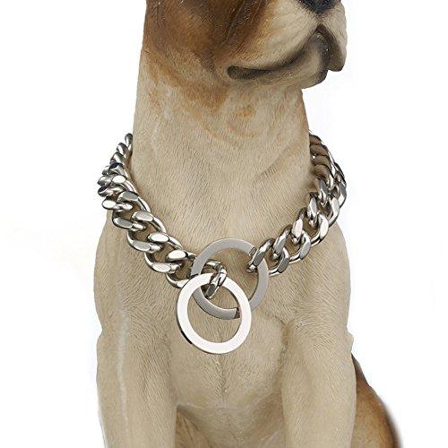 Granny Chic Stark Hundehalsband Edelstahl Pet Kette Halskette 12mm 15mm Breite, 22