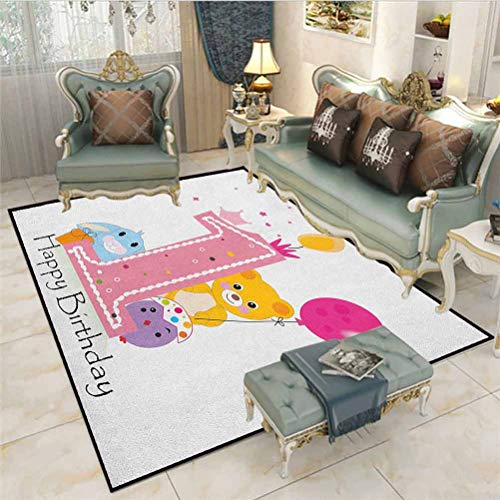 1st Birthday Boys Girls Baby Kids Children Rugs Princess Girl and Party Cake with Candle Teddy Bear Toy Print Desk mat for Carpet Pale Pink and Hot Pink 4 x 6 Ft