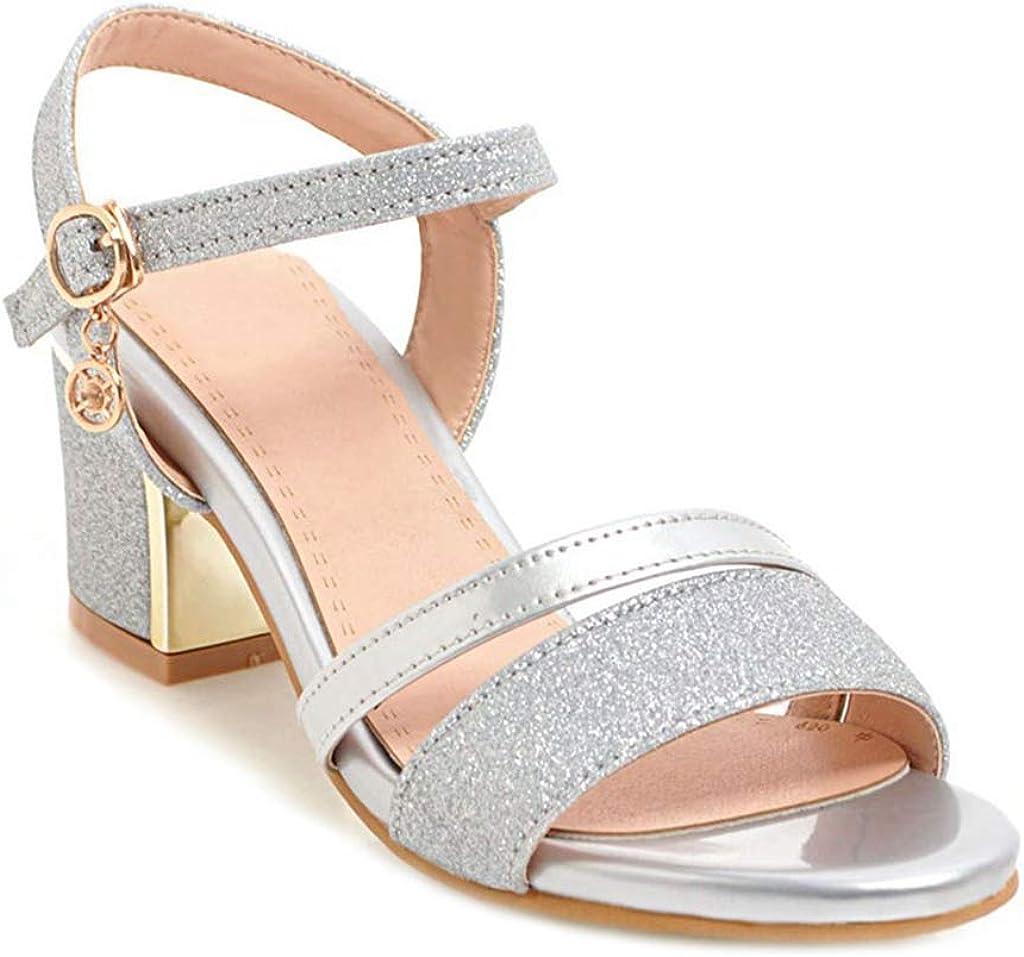 MIOKE Womens Glitter Block Mid Heel Sandals Open Toe Buckle Ankle Strap Wedding Party Dress Heeled Sandal