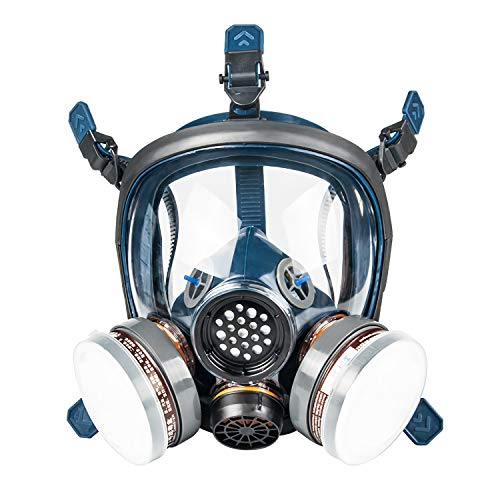 KISCHERS Reusable Full Face Respirator Large Against Dust/Organic Vapors/Smells/Fumes/Sawdust/Asbestos Suitable for Painting,Staining,Car Spraying,Sanding &Cutting