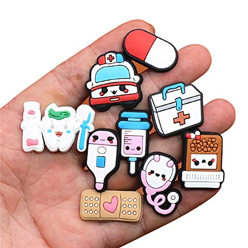 huixu 18 Pcs PVC Medical Charms For Shoes Cute Stethoscope Syringe Shoe Buckle Decoration Jibz Fit Croc Kids X-mas Gifts,MIX COLOR