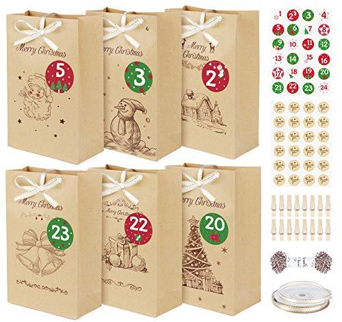 ilauke Sacs Cadeaux de Noël en Papier Kraft 24 PCS Sac Kraft Noël Rétro Avec 48Pcs Autocollant, Sac cadeau Motif de Noël 22x13x6cm pour Emballage Cadeau, Bonbons, Chocolats, Biscuits