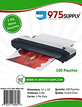 975 Supply 3 Mil Clear Menu Size Thermal Laminating Pouches 12 X 18 inches 100 Pouches