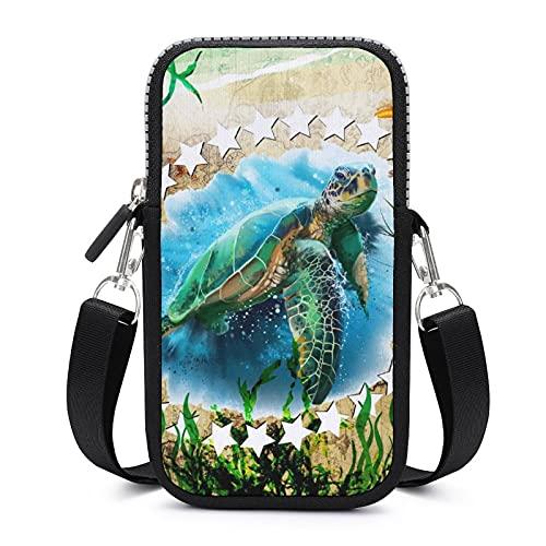 Bolso bandolera para teléfono móvil con correa de hombro extraíble Playa Tortuga Estrella Anti-caída Funda para llave muñeca cartera Yoga Bolsas Mujeres