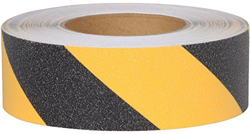 Safe Way Traction 2 X 60 Foot Roll of Black and Yellow Adhesive Anti Slip Non Skid Abrasive Safety Tape 3360-2