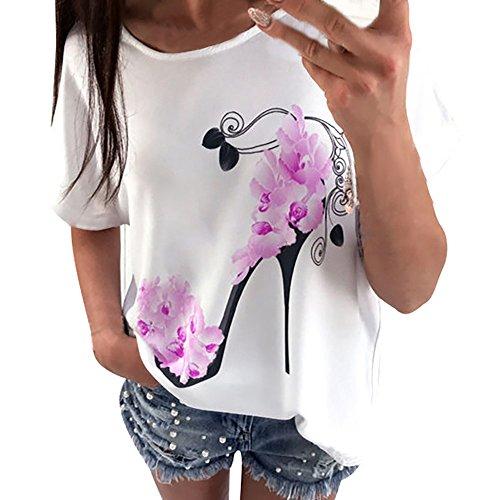 VJGOAL dames t-shirt, vrouwen meisjes elegant eenvoudig klassiek korte mouwen zomer mode hoge hakken topdruk bovenaan