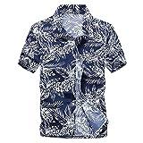 Camisa hawaiana de verano para hombre Camisas florales de manga corta ajustadas en la playa Ropa informal para fiestas navideñas,# (Color : 3, Size : XXX-Large)