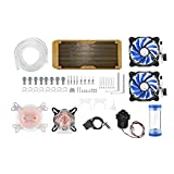 ASHATA PC Water Cooling Kit, Universal Water Cooling Radiator,Tubing,Pump,Cylindrical Tank,Dual Fan,Mounting Accessories Computer Water Cooling Liquid Cooler Kit