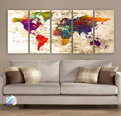 Original by BoxColors Xlarge 30'x 70' 5 Panels 30x14 Ea Art Canvas Print Watercolor Multi Color Old Map World Push Pin Travel Wall decor (framed 1.5' depth) M1816