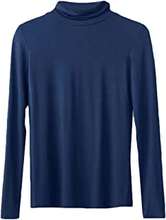 Macondoo Womens Casual Top Turtleneck Long Sleeve Tee Modal T-Shirt