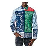 Herren Bedrucktes Langarmhemd, Mode Shirts Casual Langarm Strand Cashew Bedruckte Tops Bluse Regular Fit Freizeithemd BüGelleicht Langarmhemd Shirt