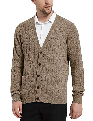 Kallspin Men's Cashmere Wool Blended Cable Knit Cardigan Sweater Relax Fit V-Neck Sweaters with Buttons & Pockets Coffee X-Large
