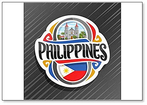 Philippinen, Molo Kirche in Iloilo mit Filipino Flagge, klassischer Kühlschrankmagnet