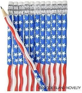 2 DOZEN (24) USA Patriotic PENCILS Stars & Stripes Design - 4th of July PARADES or PARTY FAVORS - US FLAG