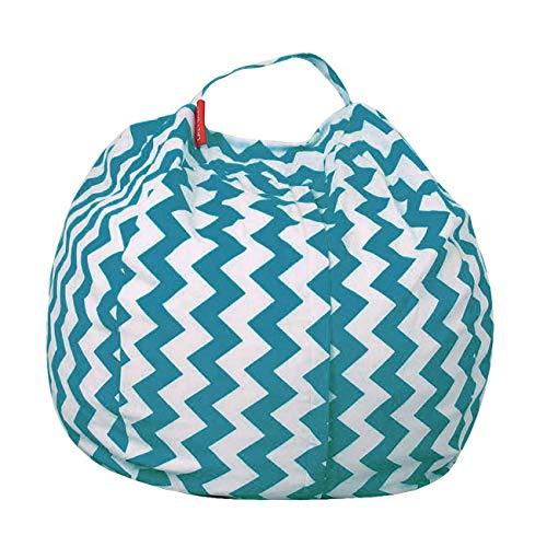 THEE Spielzeug Aufbewharungstasche Streife Sitzsack Aufbewahrung Beutel Lagerung (32 inch, W-Hellblau)