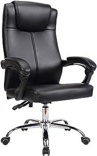 LXDDP Silla Boss Cuero para Oficina, Silla Escritorio giratoria, reposabrazos Acolchados, Altura Ajustable, Base cromada/Alta Capacidad Carga