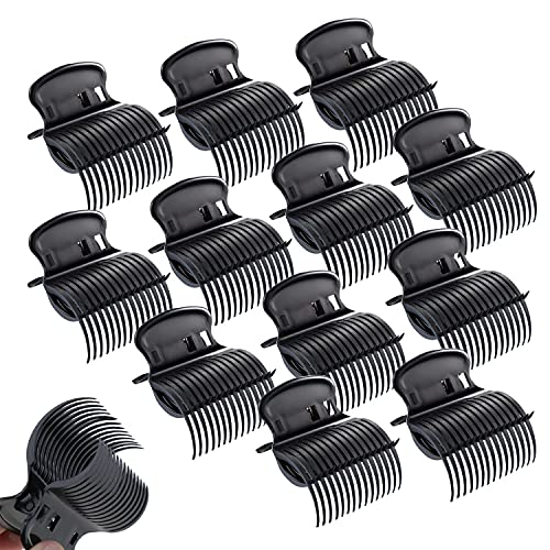 12 Pieces Hair Roller Clips,Hair Curler Claw Clips for Hair Styling,Replacement Hot Roller Clips for Small, Medium, Large and Jumbo Hair Rollers,Professional Salon Hair Clips for Women Girls(Black)