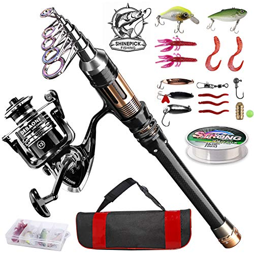 ShinePick Telescopic Fishing Pole and Reel Combo
