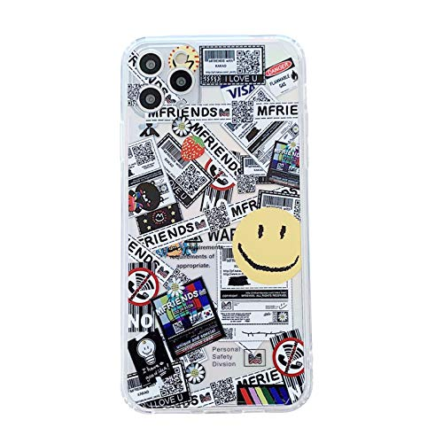 EYDLK Cartoon Straight Edge Phone Case for iPhone 12 Mini 11 Pro XS MAX XR Clear Soft TPU Cover-3-for iPhone12 Mini