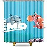 Duschvorhänge Finding Nemo Duschvorhang Anti-Schimmel Duschvorhang aus Polyester wasserabweisender Duschvorhang antibakteriell mit 12 Duschvorhangringen 70.87x70.87inch