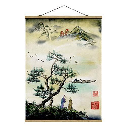 Bilderwelten Imagen de Tela - Japanese Watercolor Drawing Pine and Mountain Village, 46.5cm x 35cm, Roble