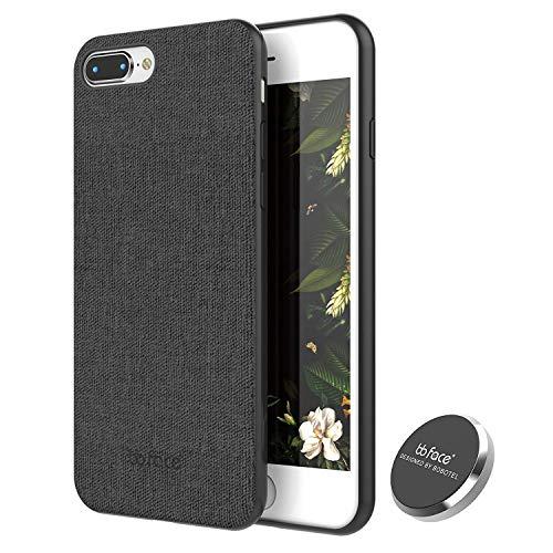 Funda de Magnética iPhone 7 Plus/iPhone 8 Plus Carcasa Patrón de Tela Cover de teléfono Función Absorbente de Imán con En Coche Imán Poseedor (No apoyar Carga inalámbrica) - Negro (5.8 Pulgada)