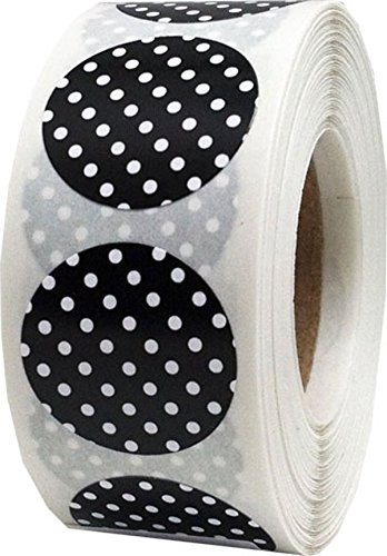 Black with White Polka Dot Color Coding Labels for Organizing Inventory 0.75 Inch Round Circle Dots 500 Total Adhesive Stickers On A Roll