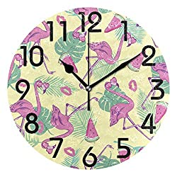 Dozili Stylish Tropical Leaves Pink Flamingo with Sunglasses Pattern Round Wall Clock Arabic Numerals Design Non Ticking Wall Clock Large for Bedrooms,Living Room,Bathroom